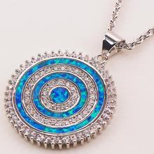 Синий огненный опал 925 пробы серебряные ювелирные изделия кулон P145