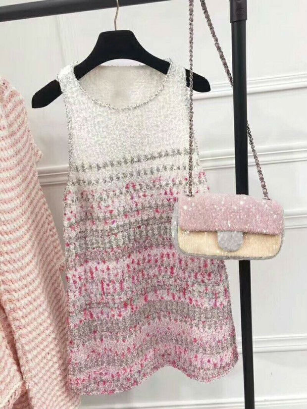 Free Shipping 2018 New Arrival Summer Dresses For Women O-Neck Sleeveless Pink Weaving Stitching A-Line Sweet Style Summer Dress