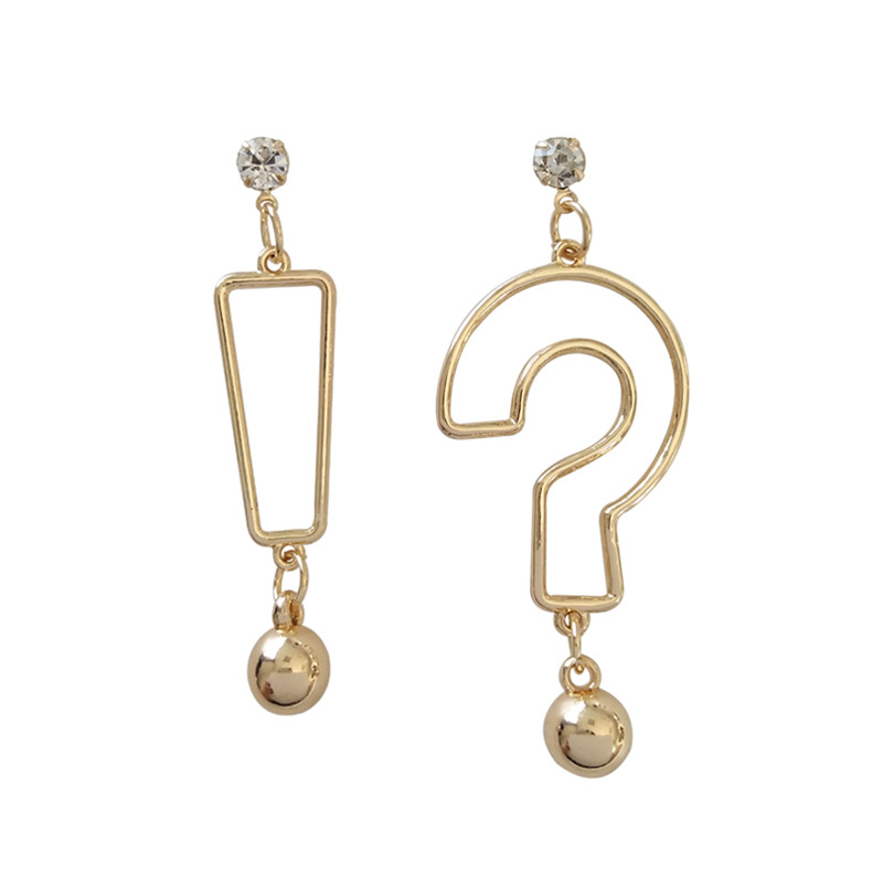 Elegant girl contracted joker whimsy cold wind earrings metallic hip-hop personality question mark female students stud earring