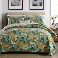 American Bedspread Quilt Set 3PCS Quilted Cotton AB side Paisley Pattern Quilts Bed Covers King Size Coverlet Blanket Green