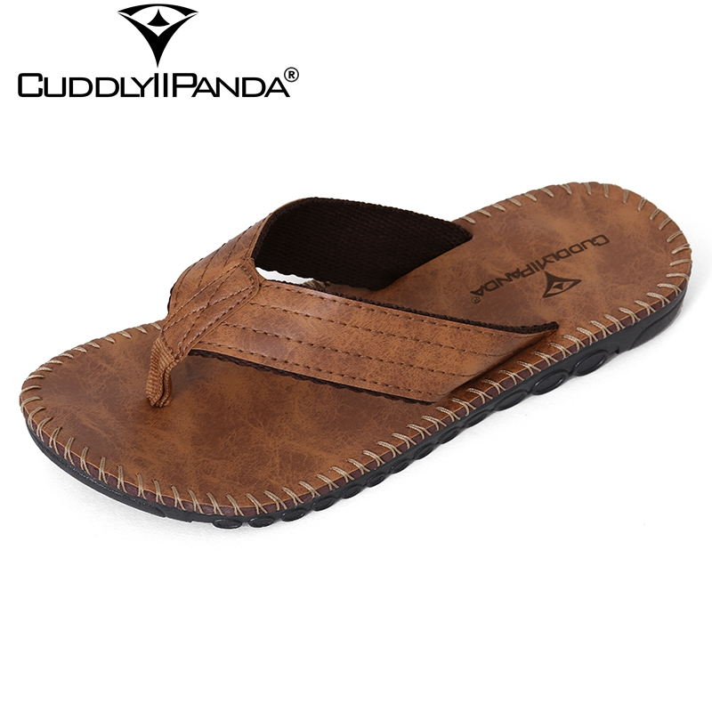 CuddlyIIPanda 2019 New Summer Cool Beach Slippers British Style Men Flip Flops Platform Non-slide Male Sandals Zapatos Hombre(China)