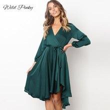 WildPinky Boho Long Sleeve Autumn Winter Elegant Dress Solid Dark Green Women V Neck Lace Up Sexy Party Vestidos