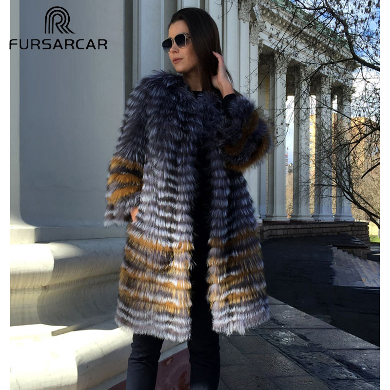 FURSARCA 90cm Long Real Silver Fox Fur Coats Women Winter Genuine Natural Fox fur Coat Plus Size Womens Fur Jackets Parkas