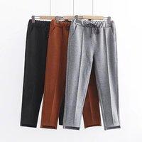 2018 Plus Size Moda primavera mulheres Magras Harem Pants de Lã bolso Elástico Na Cintura calças soltas 6XL superdimensionada preto cinza