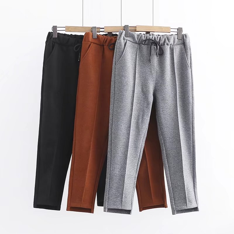 2018 Plus size Fashion spring Skinny women Woolen Harem pants pocket Elastic Waist 6XL loose trousers oversized black gray