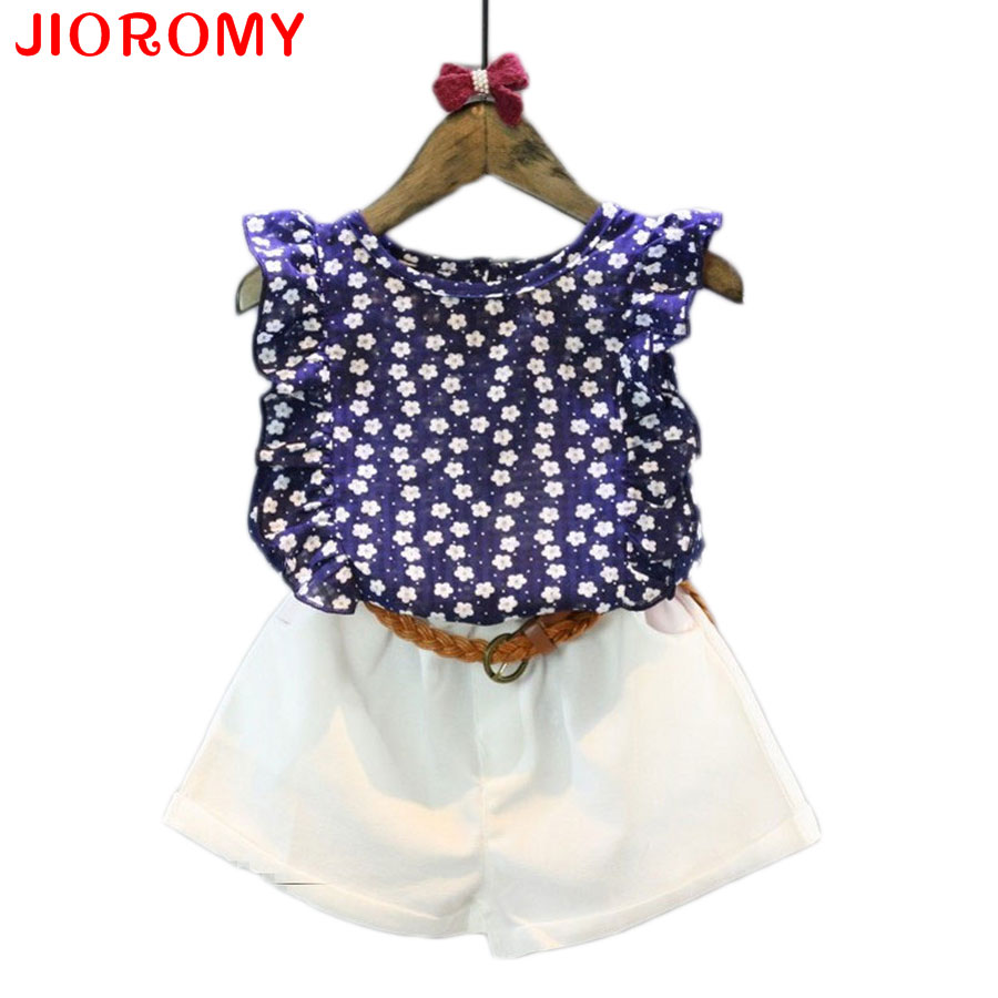 Girls Clothes 2017 Brand Girls Clothing Sets Kids Clothes Cartoon Children Clothing Flower Tops + Shorts Clothing Set 2017 children clothing sets cartoon cats sets pants children clothing set girls clothes fashion designs nova kids clothes sets