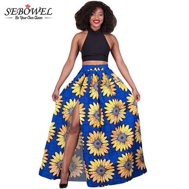 ball gown skirt. sebowel african fabric sunflower floral printed high waist split maxi skirt plus size midi skirts long ball gown l