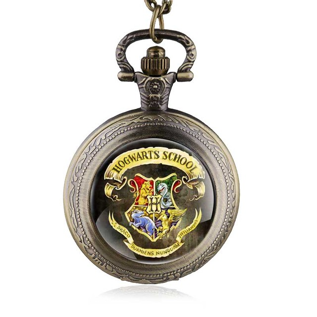 Bronze Magic School Quartz Pocket Watch Analog Pendant FOB Watches Necklace Woma