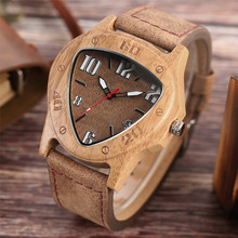 Luxury Bamboo Wood Watch Men Inverted Triangle Dial Nature Wooden Handmade Creative Watches Business Fashion Clock Gift 2017 New