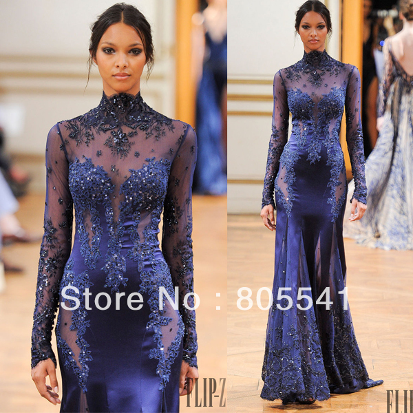 Fashion Sexy 2014 High Neck Appliqued Beaded Dark Blue Long
