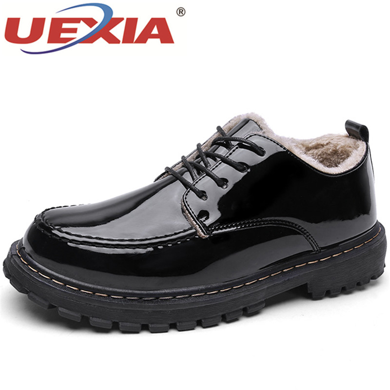 UEXIA Men Shoes Top Quality Winter Casual Mens Ankle Warm Leather Snows Male Warm Winter With Plush Fur All Match Non-Slip Adult 2017 new lightweight breathable suede mens casual shoes adult keep warm with fur