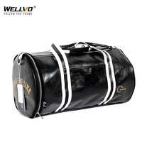 Wellvo Men's Leather Travel Luggage Bags Large Capacity Training Bag for Shoes Storage Women Shoulder Bag Weekend Bags XA39ZC