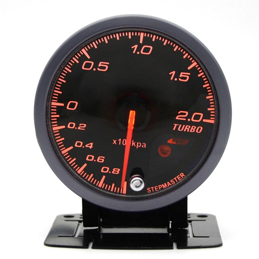 2.5 Inch 60mm Car Turbo Boost Gauge 2 BAR White & Orange Dual Led Display With Peak Warning Car gauge Car meter