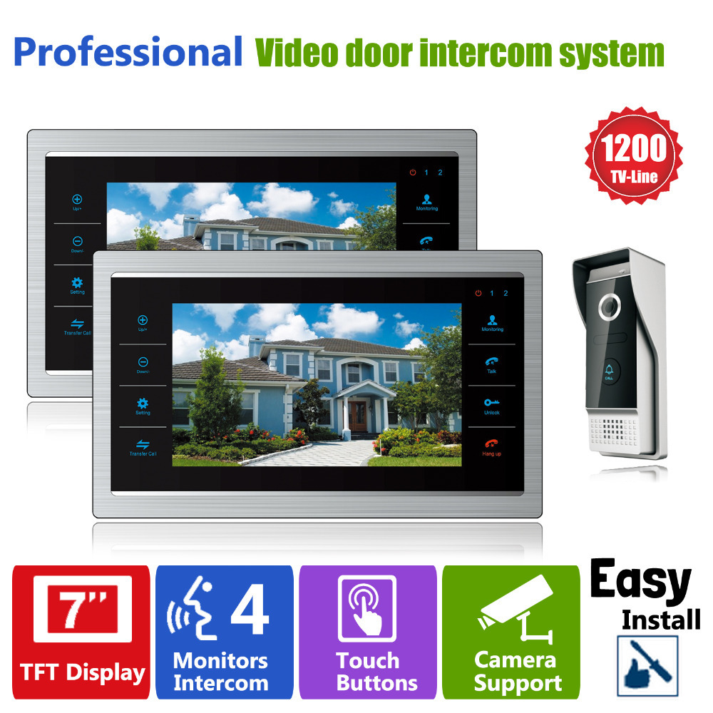 Homefong 7 inch Monitor Video Doorphones Intercom Recording 1 Camera 2 Monitor HD 1200TVL Rainproof Door bell  Camera 12V new aputure vs 5 7 inch 1920 1200 hd sdi hdmi pro camera field monitor with rgb waveform vectorscope histogram zebra false color