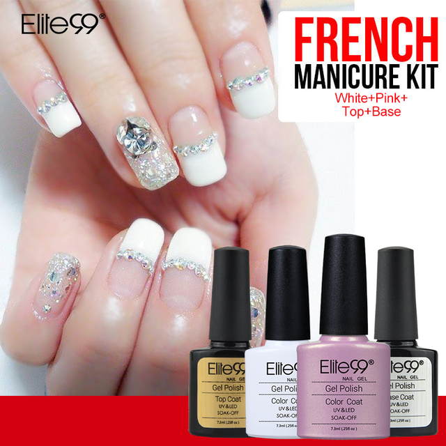 Elite99 7.3ml French Manicure Set Nail Gel Polish Top Base Coat Needed High Quality Free Guide Tip For Beauty Nail Art DIY