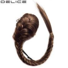 DELICE Плетеный синтетический волос Fishtail Ponytails Женский зажим в прямом хвосте пони с эластичной веревочной веревкой 20inch