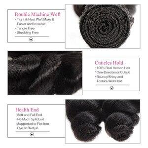Image 3 - שקוף סגר עם חבילות Loose גל חבילות עם סגירה ברזילאי שיער Weave חבילות עם סגירת שאינו רמי LollyHair