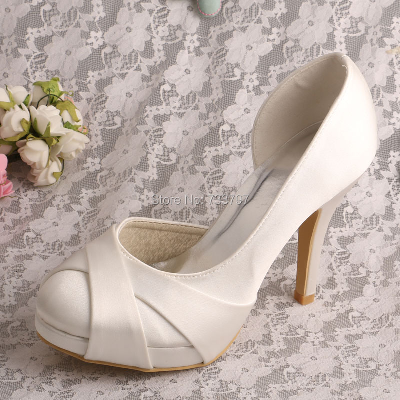 ФОТО Wedopus MW579 Off white Bride Shoes High Heels Closed Toe Platform Dropshipping