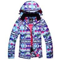 กีฬาของผู้หญิงกลางแจ้งกันน้ำWindproofคลุมด้วยผ้าแจ็คเก็ตสกีความร้อนหิมะสภาพอากาศเสื้อสกีเสื...