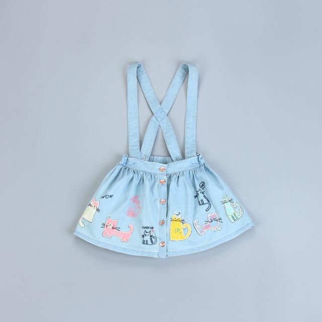 Children Baby Girls Skirts Cotton Jeans Appliques Cat Short Jumper Skirt Girls Clothes Overalls Baby Girls Braces Skirt SAS-9467