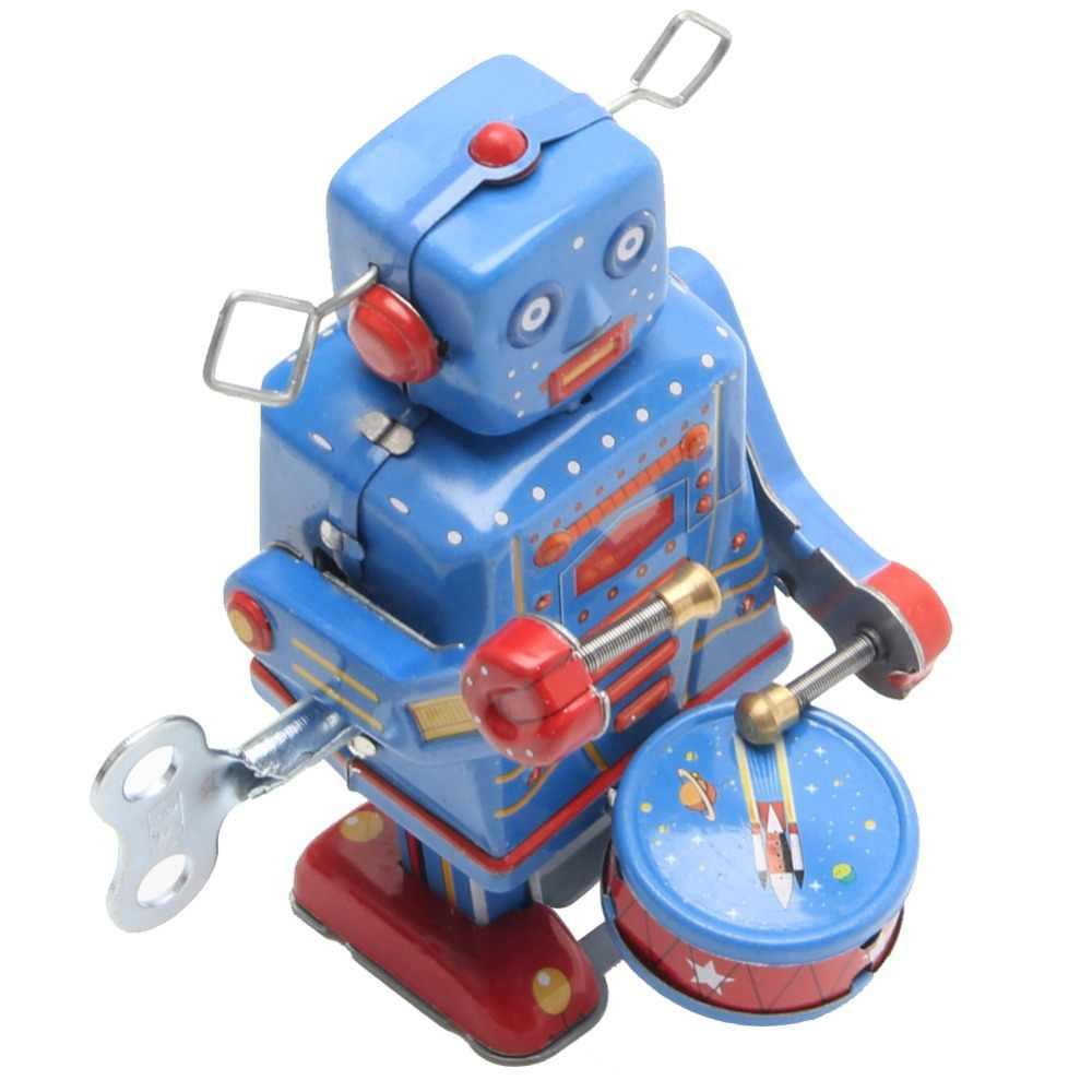Новый Ретро Заводной металлический ходячий робот игрушка винтажная Коллекционная детский подарок
