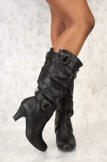 Pu Talla Fiesta Tacones Motocicleta 34 Black Mujer Invierno Metal Hebilla Zapatos Altos Para Sexis Montar 43 Cuero white Con Largos Botas De 8xTwOO