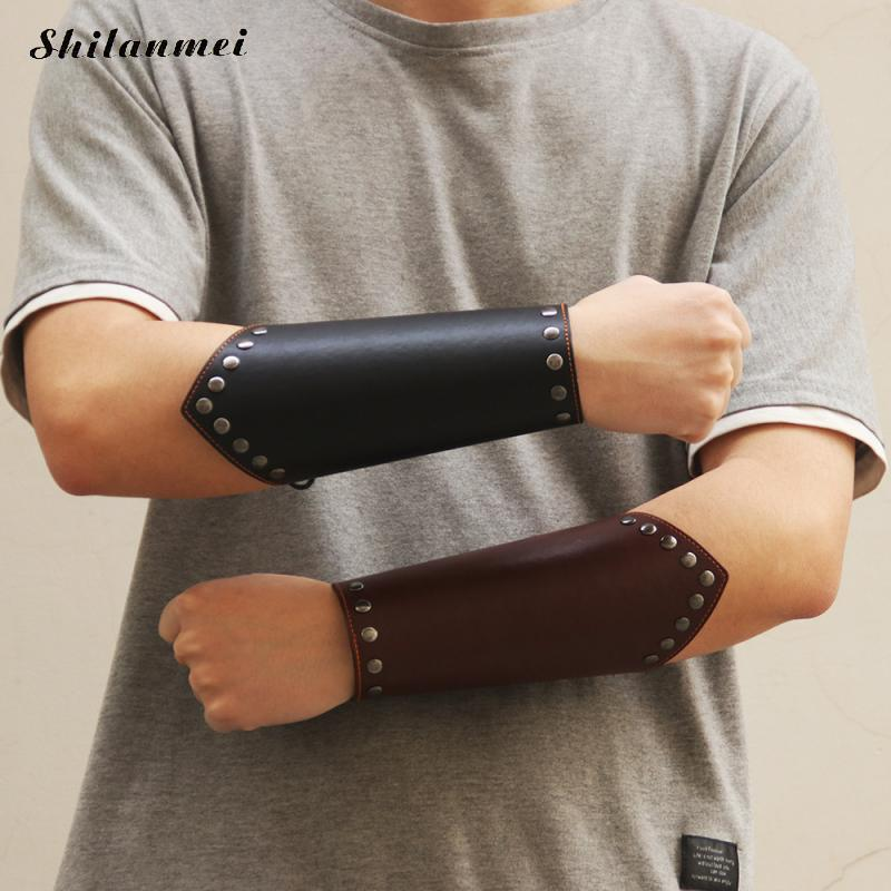 1pc Cosplay Punk Faux Leather Wide Bracer Drawstring Arm Armor Cuff Cross Solid Steampunk Medieval Gauntlet Wristband Black 2019
