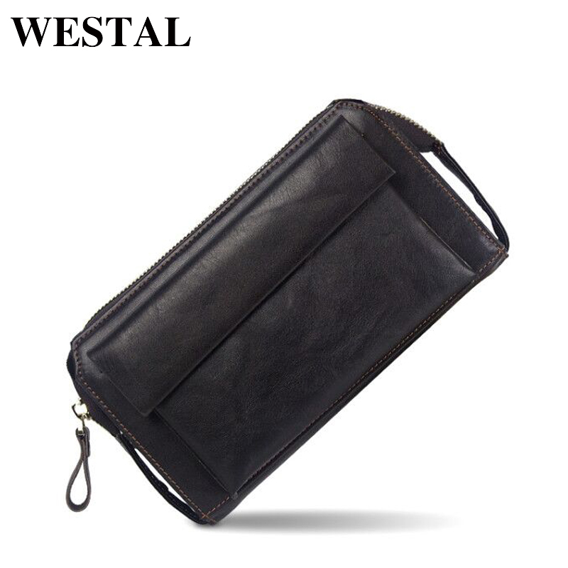 WESTAL Capacious Genuine Leather Men Wallet Coin Pocket Men Mens Wallets Credit Card Holder Male Clutch Bags Man Purse 9032 mens wallets black cowhide real genuine leather wallet bifold clutch coin short purse pouch id card dollar holder for gift
