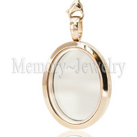 Newest Rose Gold Oval Locket Pendant 316 Stainless Steel Floating Living Memory Locket Necklace