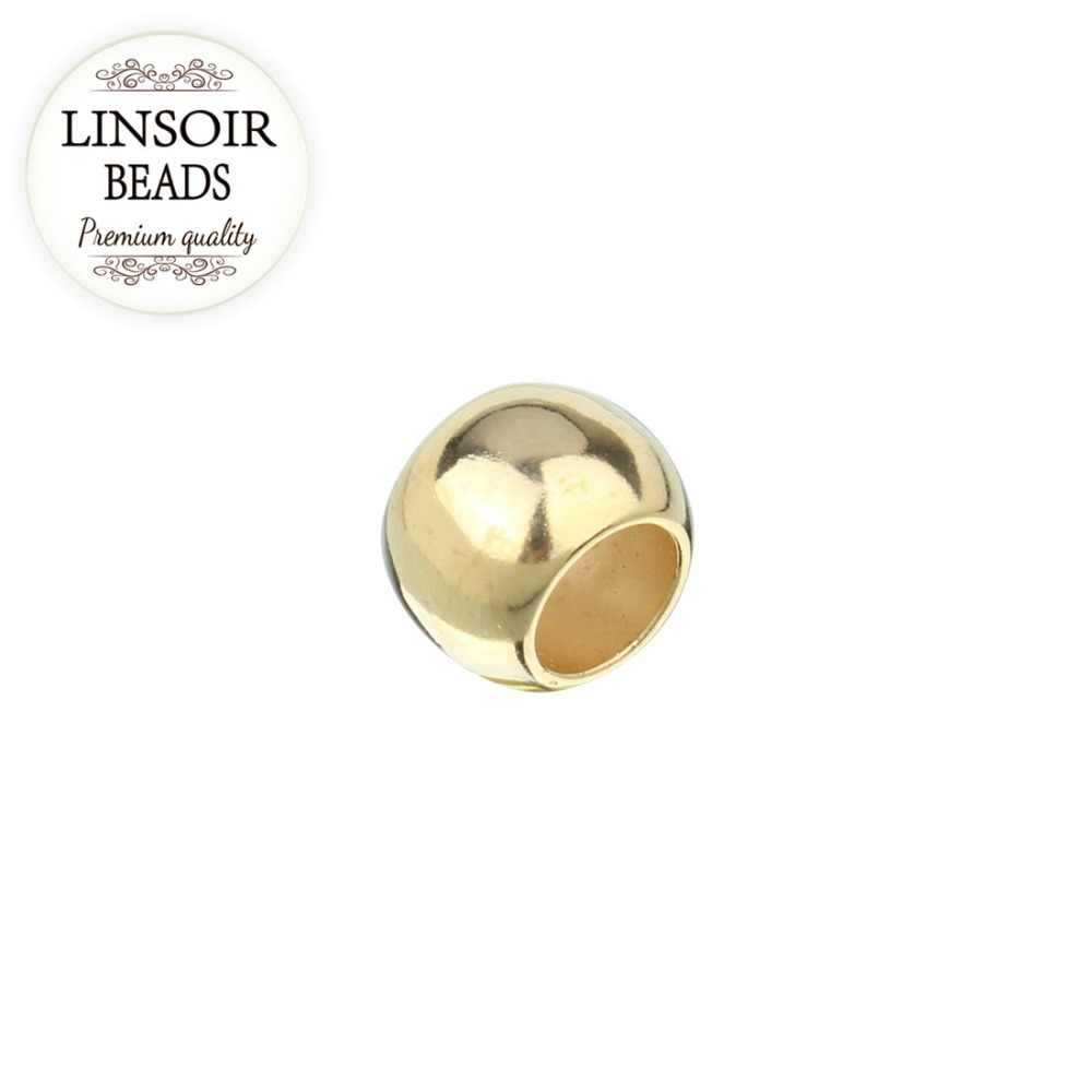LINSOIR 100pcs lot 4 6 8 10 12 mm CCB Spacer Beads Gold Color Big Large Hole Beads For DIY Jewelry Making not metal F1497A in Beads from Jewelry Accessories