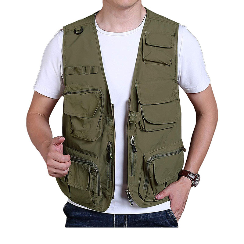 Men/'s Multi Pocket Outdoor Travel Fishing Work Photography Hunting Mesh Zip Vest