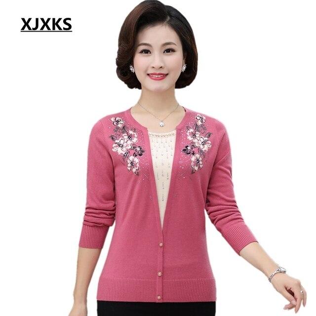 XJXKS צמר אופנה חדשה 2017 סתיו סוודר לנשים מלא שרוול הדפסת פרחוני סריגים מקרית נוח של נשים סוודרים 99755