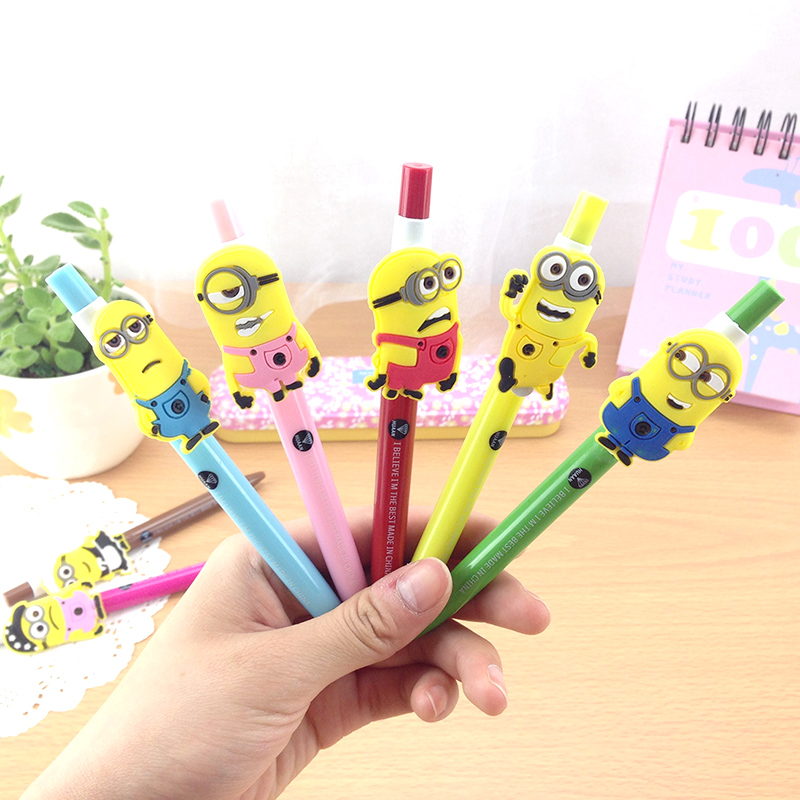 4PCS/Lot  Cute Yellow Minions  Series Gel Pen 0.5mm Black  Ink Pen Promotional Gift Stationery School Office Supply