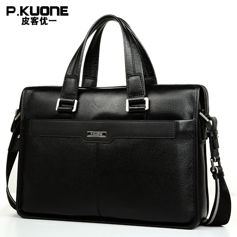 15 6 inch Laptop Briefcase Genuine Leather Office Bag For Men Messenger Bags Large Computer Bags