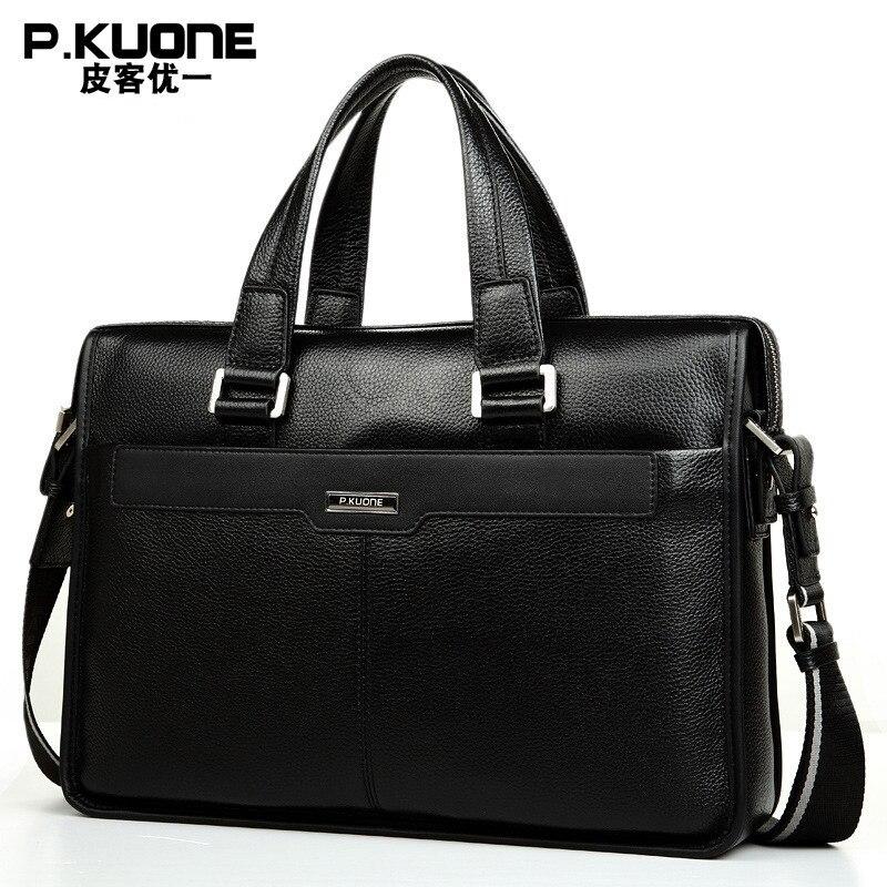 15.6 cal laptopa teczki prawdziwej skóry torba biurowa dla mężczyzn Messenger torby duża torby komputerowe torba na dokumenty mężczyźni teczki w Teczki od Bagaże i torby na  Grupa 1