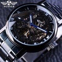 Winner Skeleton Black Stainless Steel Blue Hands Luminous Mens Watches Top Brand Luxury Watch Men Montre