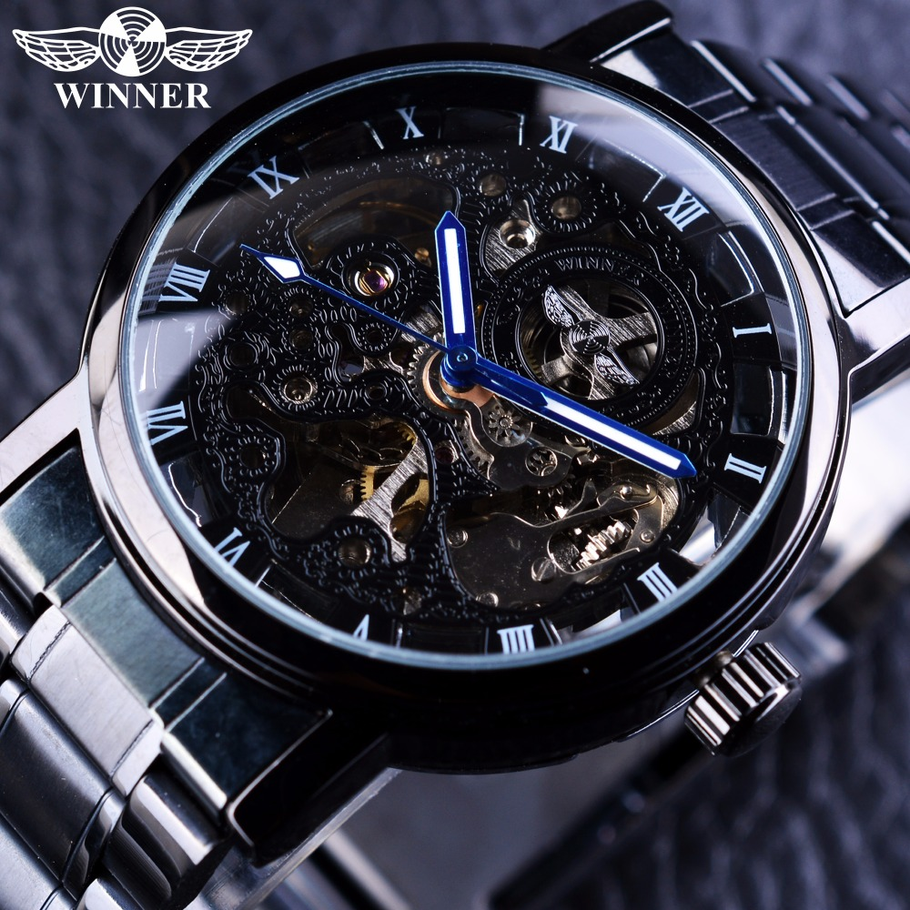 Winner Skeleton Black Stainless Steel Blue Hands Luminous Mens Watches Top Brand Luxury Watch Men Montre Homme Automatic Watch tevise men black stainless steel automatic mechanical watch luminous analog mens skeleton watches top brand luxury 9008g
