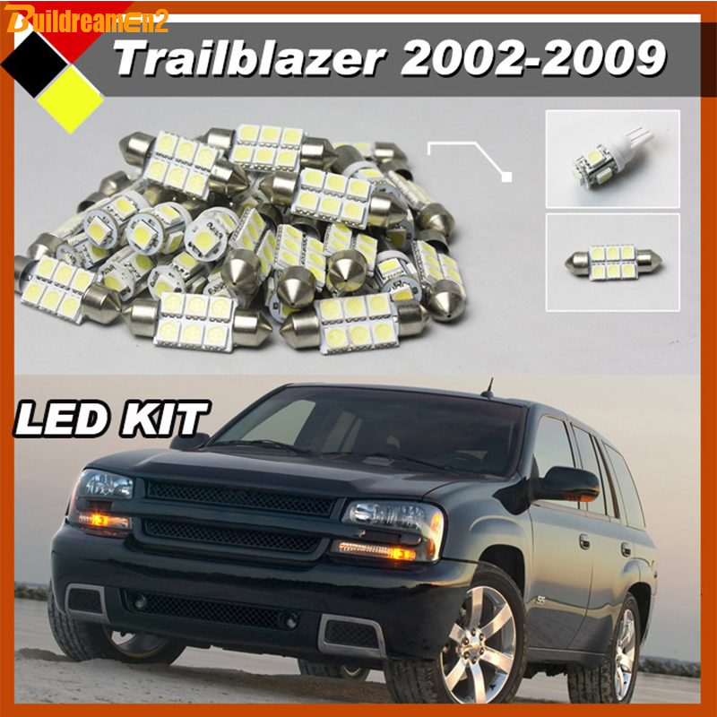Buildreamen2 Car LED Kit  Package Interior Map Dome License Plate Cargo Lights White Suit For 2002-2009 Chevrolet Trailblazer 4pcs aluminium alloy wheel hub tire wheels for rc on road car fit for 1 10 hsp tamiya kyosho on road car model