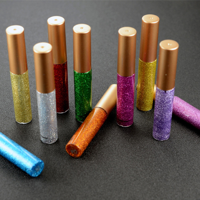 Brand New 10 Colors White Gold Glitter Eyeshadow For Easy to Wear Waterproof Liquid Eyeliner Beauty Eye Liner Makeup 5