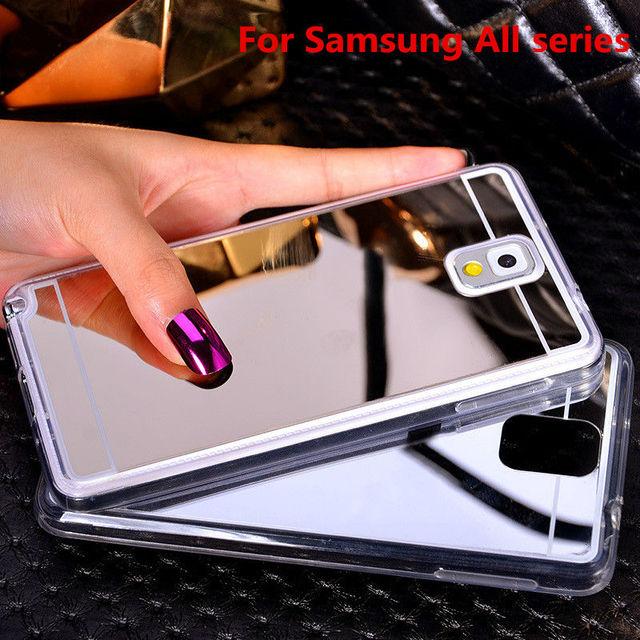 Kaplama ayna yumuşak tpu geri case kapak için samsung galaxy note 3 4 5 A5 A7 A8 J5 J7 2016 S3 S4 S5 S6 S7 Kenar Artı Telefon case