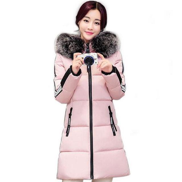 New 2017 Winter Warm Coat Down Cotton Jacket Women Faux Fur Collar Thick Slim Hooded Plus Size Long Down Jacket Coat