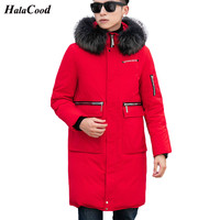 Quality 2018 New Long Winter White Duck Down Jacket With Fur Hood Men's Clothing Casual Jackets Thickening Parkas Male Big Coat