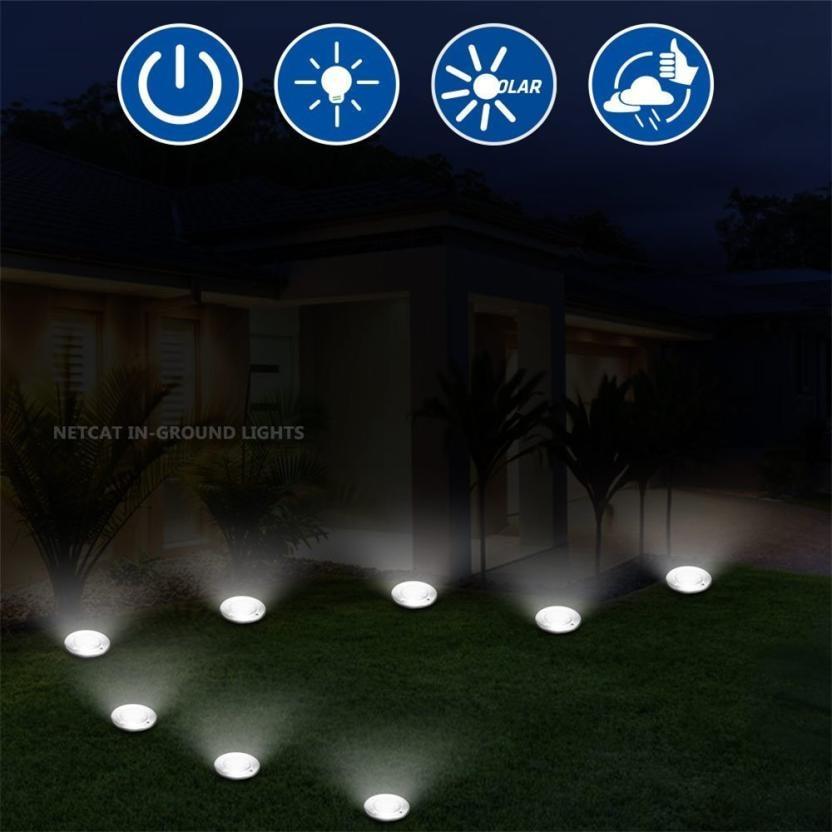 8 шт., 8 светодиодов, светильник на солнечной энергии, лампа под заземлением, наружный настил для сада, напольный светильник, настенный, новинка, хит продаж, оптовая продажа