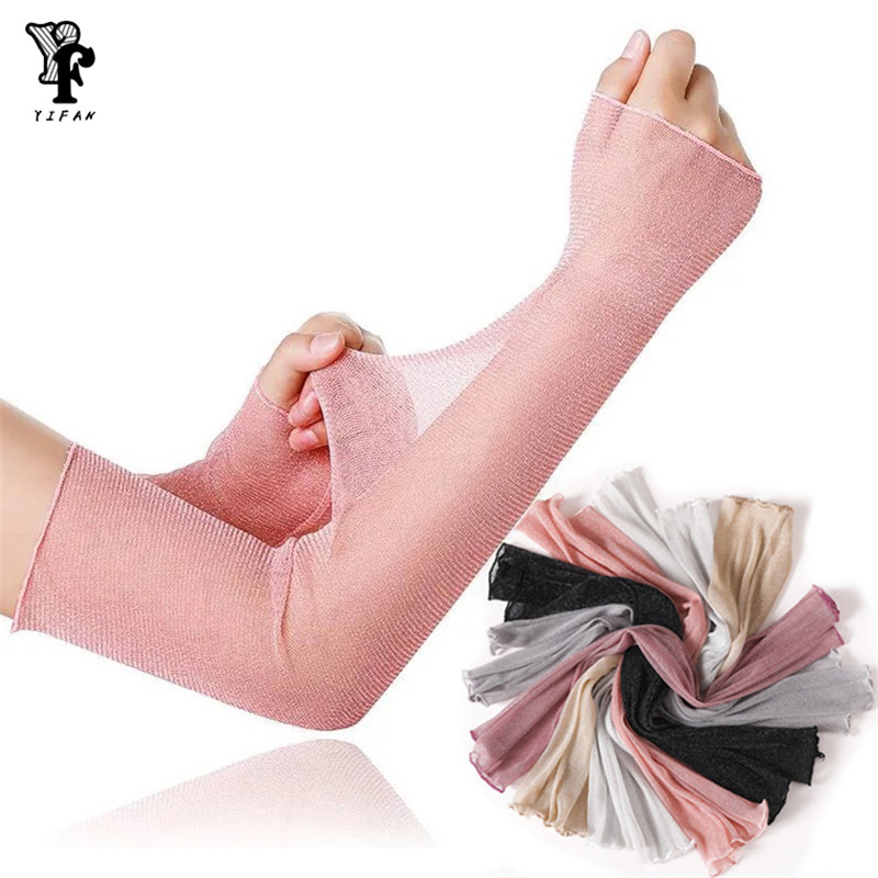 Summer Sunscreen Silk Sleeves Drive Womens Sexy Thin Gloves Summer Lace Gloves Driving Lace Guantes Guantes Sin Dedos Silver