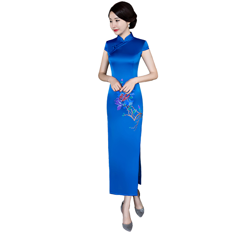 3f590dccafc90 Shanghai Story Faux Silk Qipao Long Cheongsam national trend chinese style  dresses Blue Traditional Chinese Dress for women