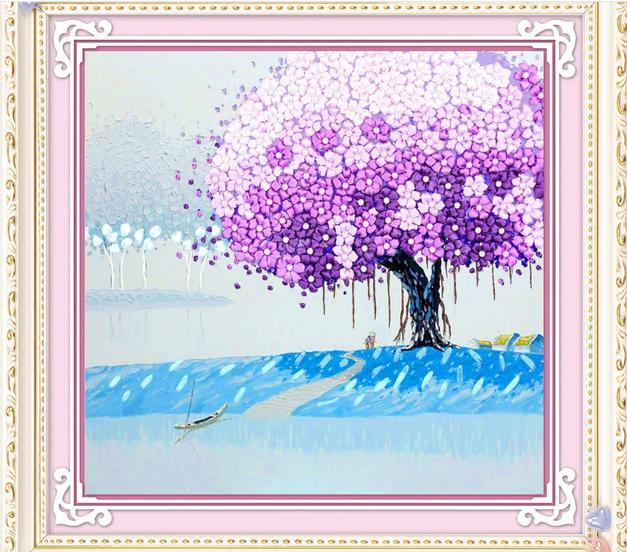 3d Ribbon Cross Stitch Purple Tree Silk Ribbon Embroidery Kits