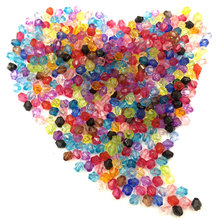 300Pcs Mixed Color Rhombus Loose Acrylic Spacer Beads DIY Jewelry Making Findings 4x4mm