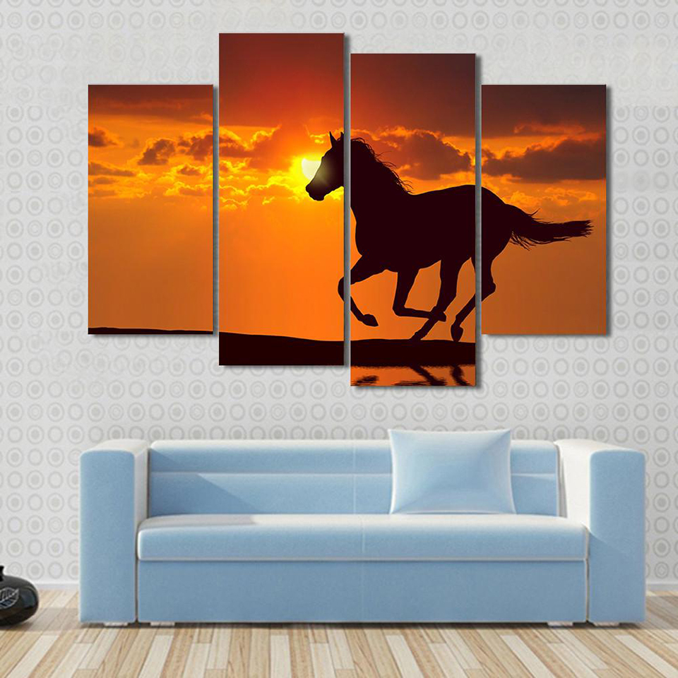 Canvas Painting Poster Wall Art Living Room Printed Picture 4 Panel Horse Running Sunset Water Reflect View Modern HD Frame Home