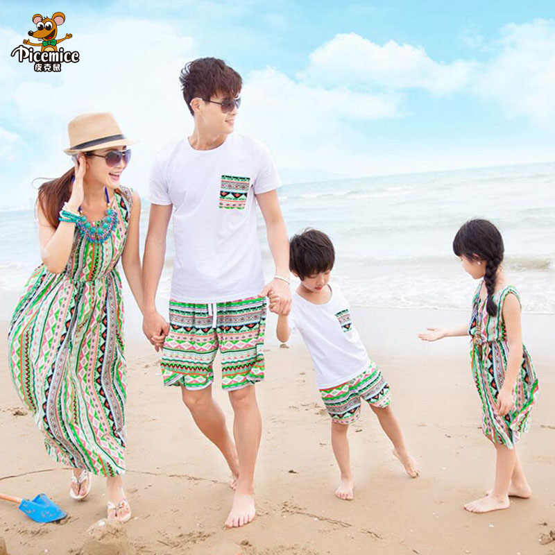 024393176e Mother Daughter Dresses Family Matching Clothes 2019 Summer Cotton T shirt  and Short Set Family Look