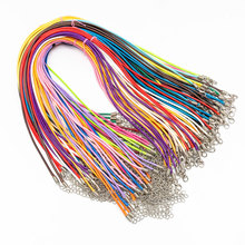 50pcs 2.0mm/45cm  Jewelry Cord Lobster Clasp Necklace Rope Waxed Leather Cord Necklace Lanyard Pendant Cords Bracelet Making